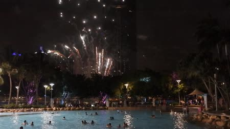 Fireworks display for Christmas over Southbank Parklands and Brisbane City River in Queensland, Australia Стоковые видеозаписи
