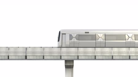легкий : Side View of Sky Train with Railway Isolated on White Background. 3D Rendering.