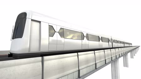 легкий : Perspective View of Sky Train with Railway Isolated on White Background. 3D Rendering. (Alpha Luma 4K Included) Стоковые видеозаписи