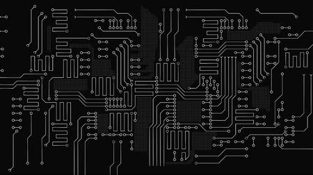 микрочип : Digital Design  Animate Motion path of  Circuit  Board Processing on Dark Background.  Abstract Digital Technology Background.