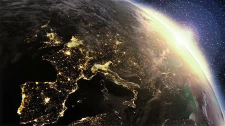 new world : Fly over city lights from Space till morning. Highly detailed. 3d Render using satellite imagery (NASA).