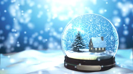 sniezynka : Loop able Christmas Snow globe Snowflake with Snowfall on Blue Background Wideo