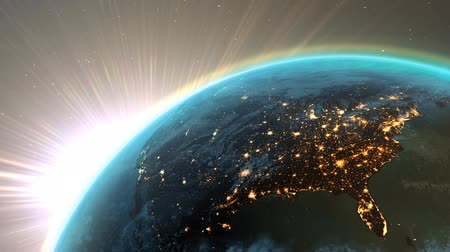 egyesült : New highly detailed earth. America zone with aurora, night time and sunrise . 3D Render using satellite imagery (NASA). Stock mozgókép