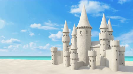 zamek : Sandcastle beach on bright sky . from close-up scene zoom out to the beach. 3d rendering Wideo