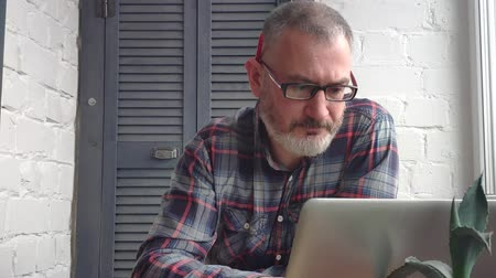 bens : Gray-haired bearded male accountant working at home. Stock Footage