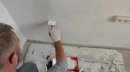 trabalhador manual : 4K Bearded Man Painting interior Walls at Flat using Paint brush. Handsome young man doing Repairs - actively paints wall with white paint. Vídeos