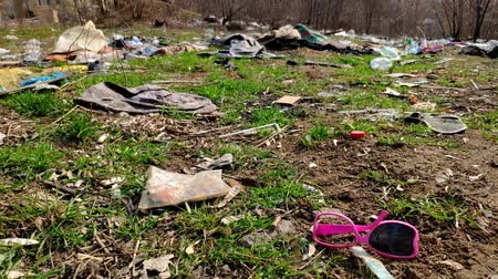 poluir : A lot of garbage falls on the ground in the forest. The problem of environmental pollution. The pollution of the environment by plastic and garbage.