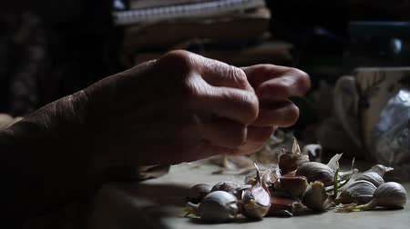 descamação : The hands of a sick old woman clean and touch the heads of garlic before cooking in the old rustic kitchen, selective focus