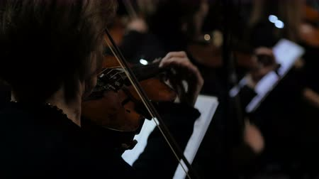 cselló : Close-up of musician playing violin in the orchestra, classic music.