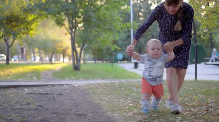 milestone : The child makes the first steps, mother help him. Autumn park.
