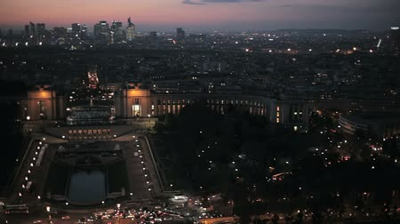 bakış : Panoramic evening view over Paris from the Eiffel tower