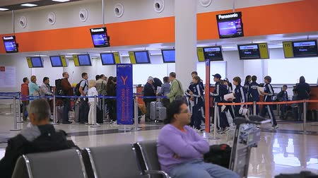 departure : Check-in counters at the airport Sheremetyevo Stock Footage