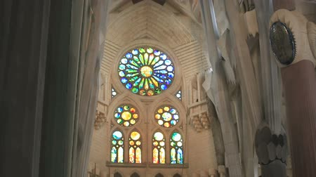 catedral : Decorative items and stained glass windows of the temple Sagrada Familia Stock Footage