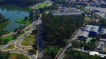 Drone images of avenues of Sao Paulo and Ibirapuera Park, South America Brazil