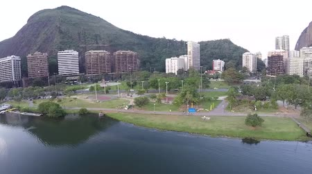 beautiful place : Drone footage of Leblon Lagoon or Rodrigo de Freitas lagoon, Rio de Janeiro Brazil, South America
