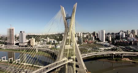 Cable-stayed bridge in the world, São Paulo Brazil, South America, the citys symbol Stock Footage