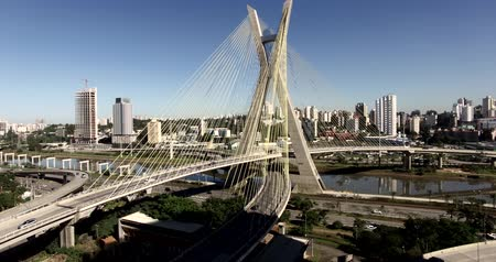 Cable-stayed bridge in the world, São Paulo Brazil, South America, the citys symbol Stok Video