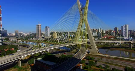 Cable stayed bridge in the world, Sao Paulo Brazil, South America Stock Footage