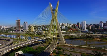 Cable stayed bridge in the world, Sao Paulo Brazil, South America Stok Video