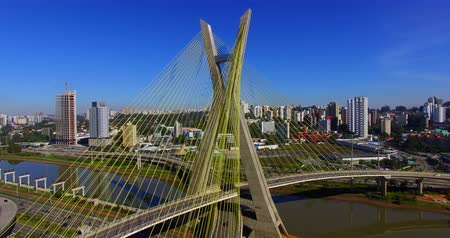 cable bridge : Cable stayed bridge in the world, Sao Paulo Brazil, South America, the citys symbol