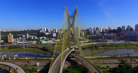 infrastruktura : Cable stayed bridge in the world, Sao Paulo Brazil, South America, the citys symbol