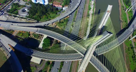 brezilya : Aerial video of Cable-stayed bridge in Sao Paulo, Brazil