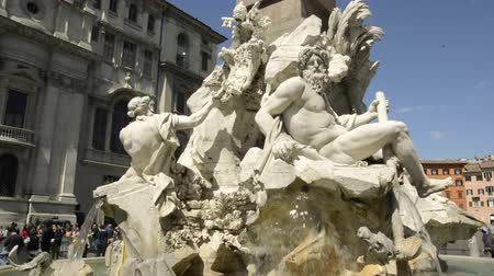 bernini : Rome, Italy, April 10th 2016: the fountain of the four rivers in Piazza Navona on a sunny day
