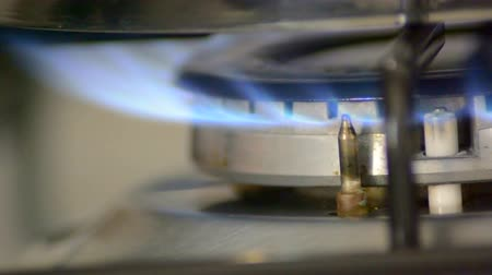 fogão : Stove top burner igniting for cooking. Blue flames