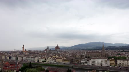 firenze : 4K Aerial View of Florence Cityscape with Palazzo Vecchio and Cathedral of Santa Maria del Fiore.