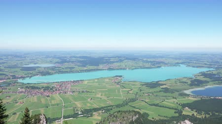 wilderness area : Aerial View on Bavarian landscape with Rivers and Lakes. 4K Ultra HD Stock Footage
