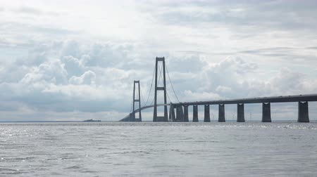 pilon : 4K View from the Coast Line at Big Belt Bridge Crossing between the Danish islands