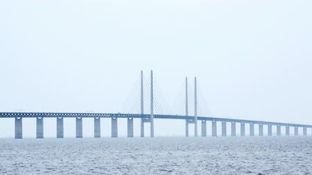 ponte sospeso : 4K Panoramic View of Oresund Bridge Attraversamento tra il danese e la Svezia