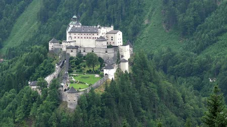 fortress : Aerial View of Hohenwerfen Castle in Alpen Mountains near Salzburg
