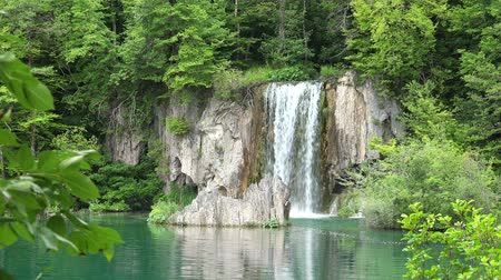 plitvice : Zoom on Waterfalls Landscape at Plitvice Lakes National Park, Croatia.