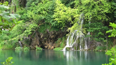 plitvice : Amazing Waterfalls Landscape at Plitvice Lakes National Park, Croatia. Stock Footage