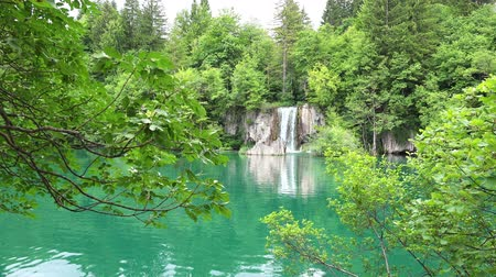 plitvice : Beautiful Landscape with Waterfalls at Plitvice Lakes National Park, Croatia. Stock Footage