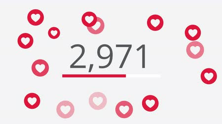 destaque : 10000 likes counting 4K social media animation with red heart like icons and thank you wording.