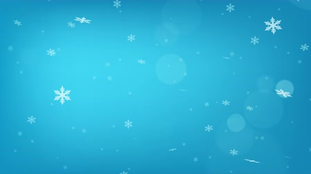 sniezynka : Beautiful light blue loopable abstract winter snow background with falling snowflakes and floating blurry glitter particles lights. 4K seamless loop video footage of the snowfall. Wideo