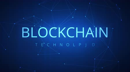 wallet : Loopable blockchain technology network futuristic hud abstract background with peer to peer net. Global cryptocurrency blockchain business banner concept.