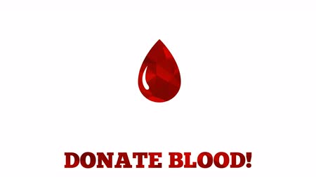 пожертвование : Donate blood animation - abstract mosaic triangular drop grows drop from mini to the full size, Then the text donate blood starts to blink