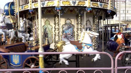 kijev : 4K view of a rotating Christmas carousel on St. Sophia Square. Kiev, Ukraine