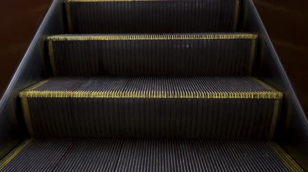 Moving empty subway escalator. HD video
