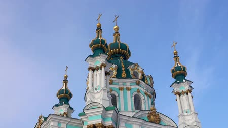 Beautiful domes of St. Andrews Church. Kiev, Ukraine Stock Footage