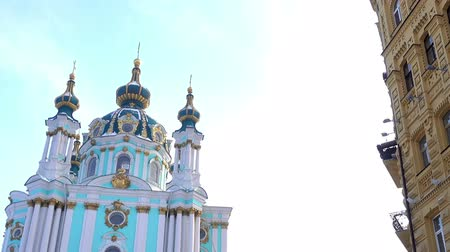 View of the St. Andrews church and the old building nearby. Kiev, Ukraine Stock Footage