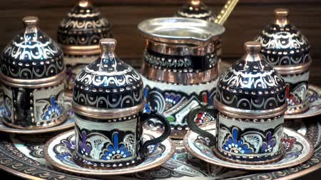 kelet : Turkish tea set on the table. HD video Stock mozgókép