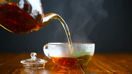 black tea : hot tea in a glass teapot