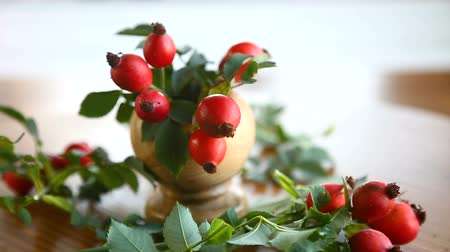 briar : Ripe red briar berries on a branch on a wooden table