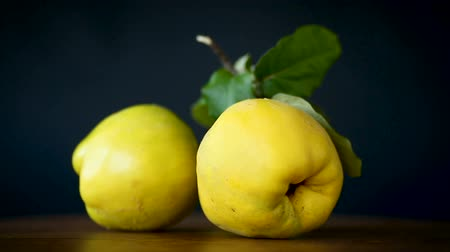 pigwa : ripe fruit quince isolated on black background Wideo