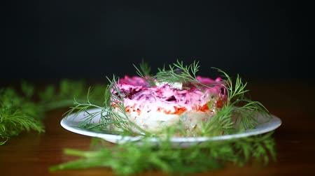 hering : layered salad of boiled vegetables with beets and herring Stock mozgókép