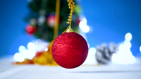 открытка : Christmas toys with a Christmas tree on a blue background